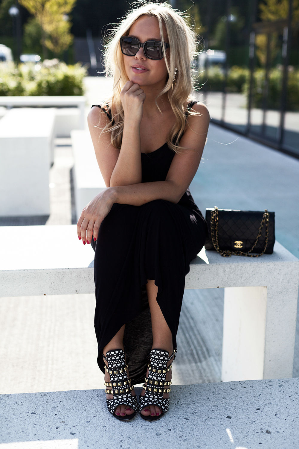 Cathrine Heienberg in a black dress from NLY, studded shoes from Zara and a bag from Chanel