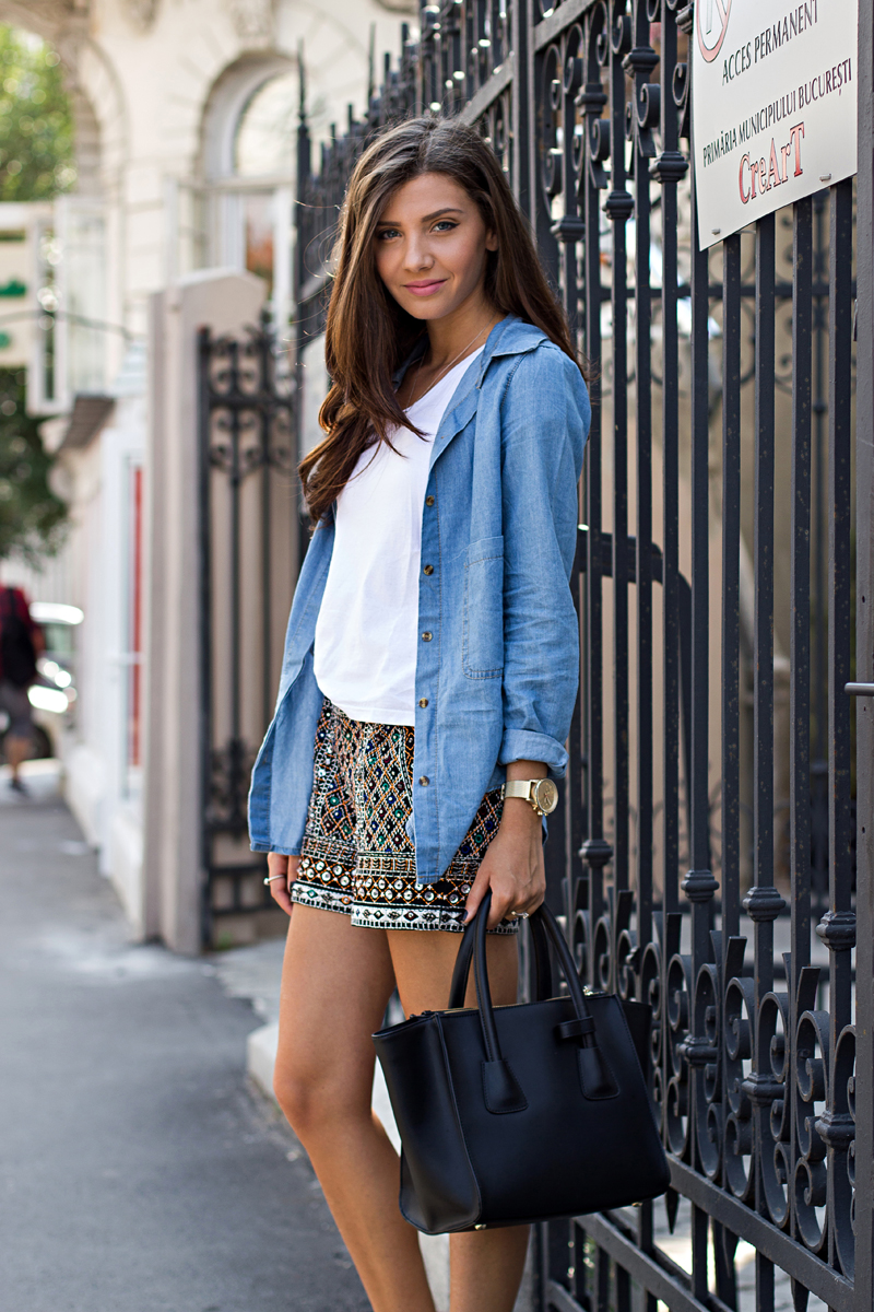 Larisa Costea is wearing shorts from Kurtmann, denim shirt from Oasap, T-shirt from H&M and the bag is from Jadu