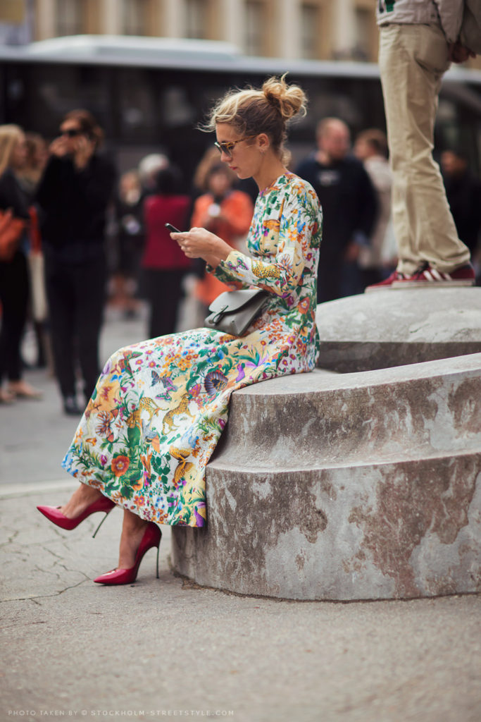 Tropical dress worn by Natalie Joos Via Stockholm Street Style