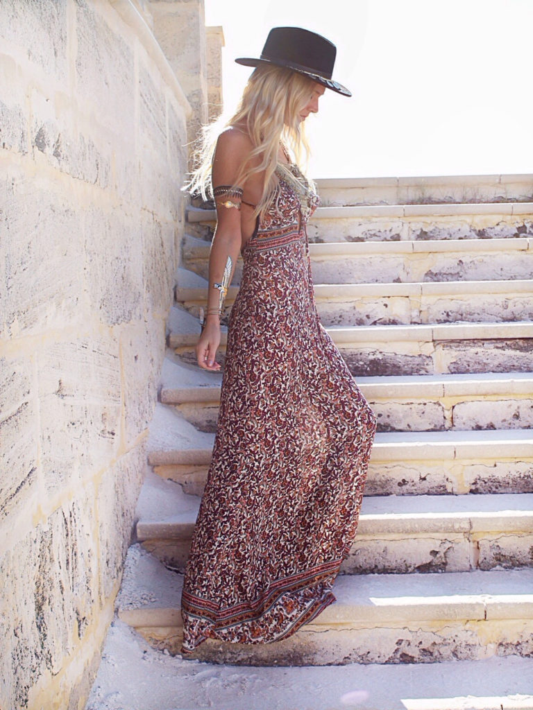 Helen Janneson is wearing a South Pacific Maxi Dress by Tysa and the hat is from Brixton