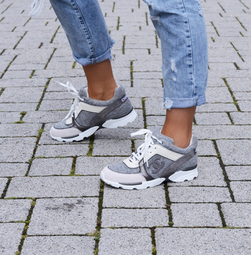 Anouk Yve in her new grey Chanel Sneakers