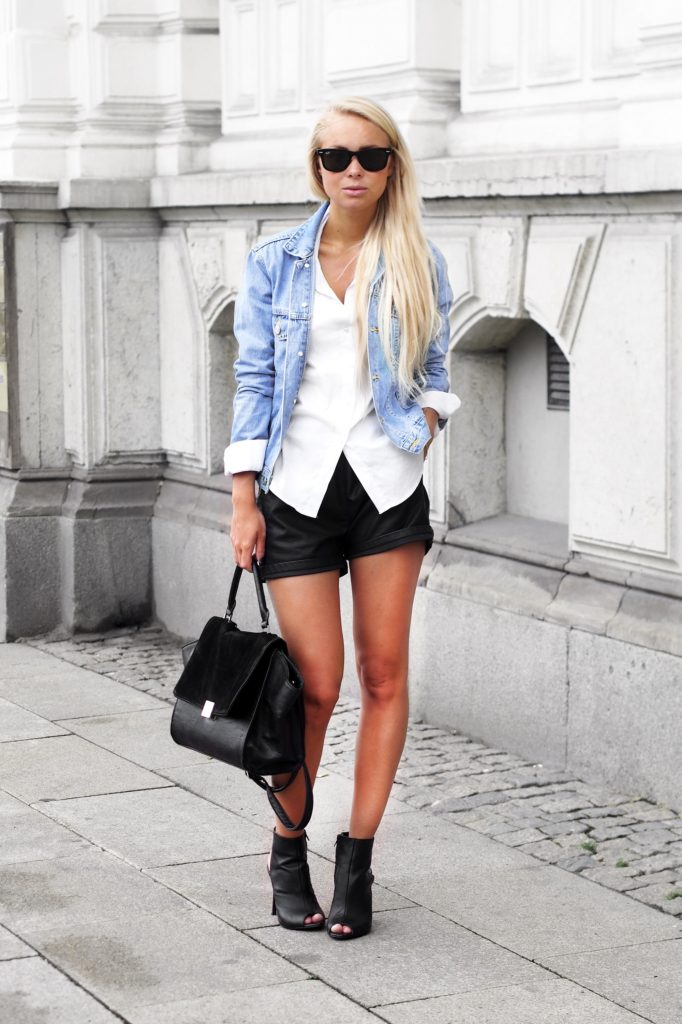 Victoria Tornegren is wearing a shorts from Minimum, denim jacket from ASOS, shirt from Zara, shoes from Mango and the bag is from Lindex