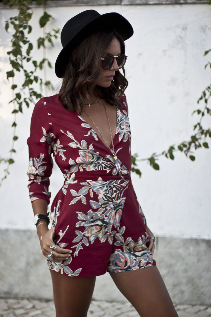 Mafalda Castro is wearing a Tropical print playsuit from Motel Rocks