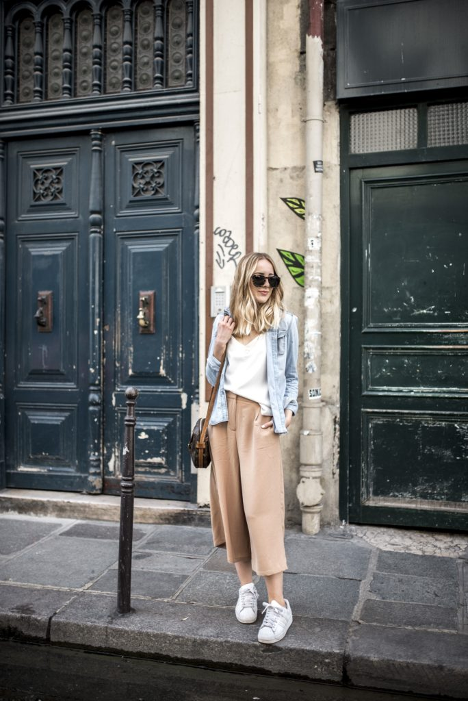 Tiphaine in a pair of camel Zalando cullotte trousers