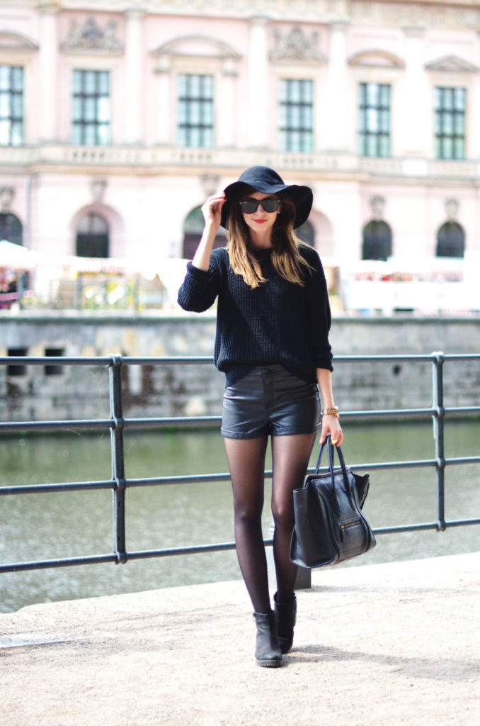 Barbora Ondrackova is wearing a sweater from American Apparel, shorts from H&M , boots from Vagabond, hat from Choies and a bag from Celine
