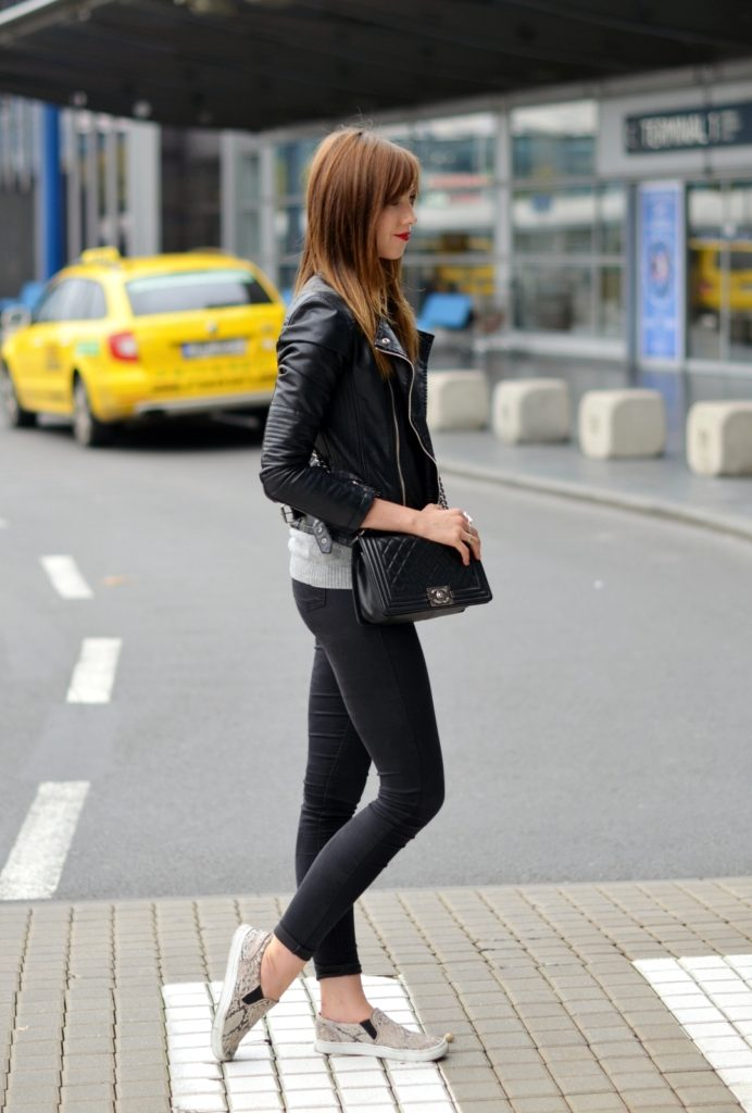 Barbora Ondrackova is wearing a sweater from COS, jacket from Choies,  jeans from Topshop, snake print slip-ons from H&M and a bag from Chanel