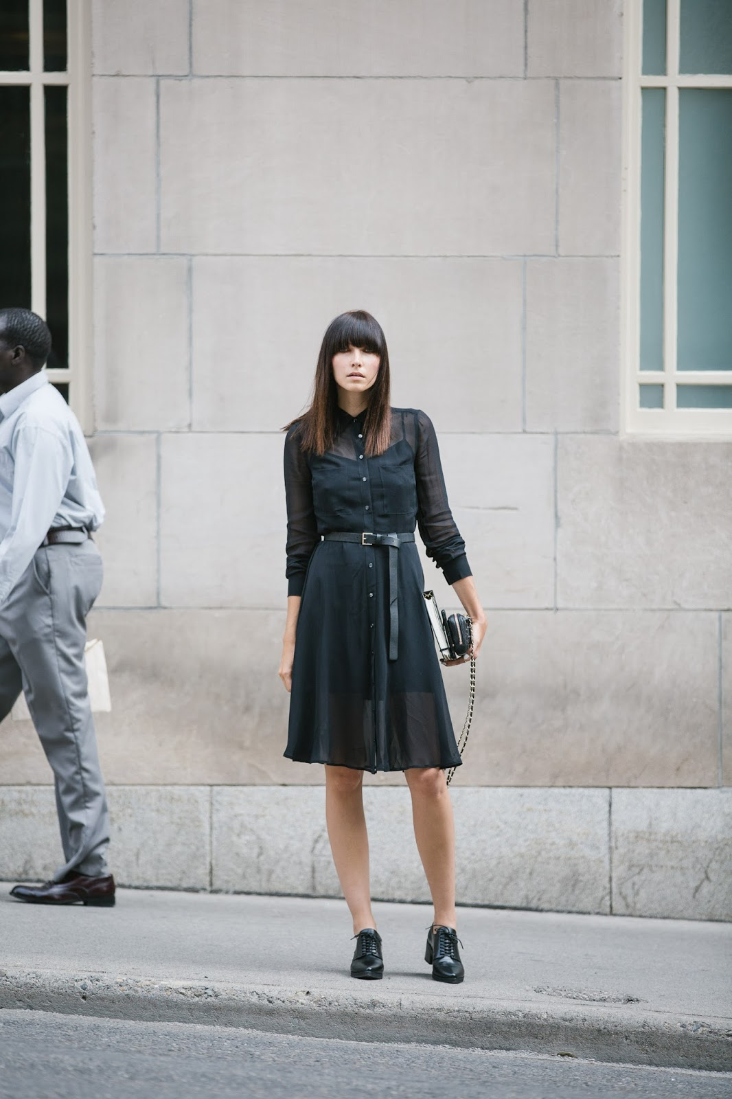 What To Wear In Autumn: Ania Boniecka is wearing a black dress from Club Monaco, and the shoes are from Jeffrey Campbell