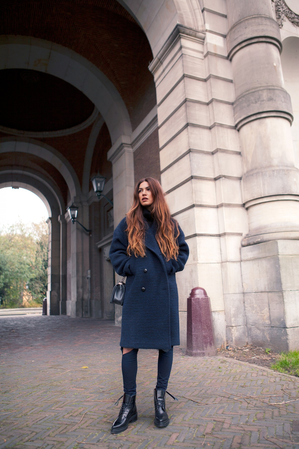 Outfits For Autumn: Negin Mirsalehi is wearing a coat from Naomi, jeans from J Brand and the boots are from Acne
