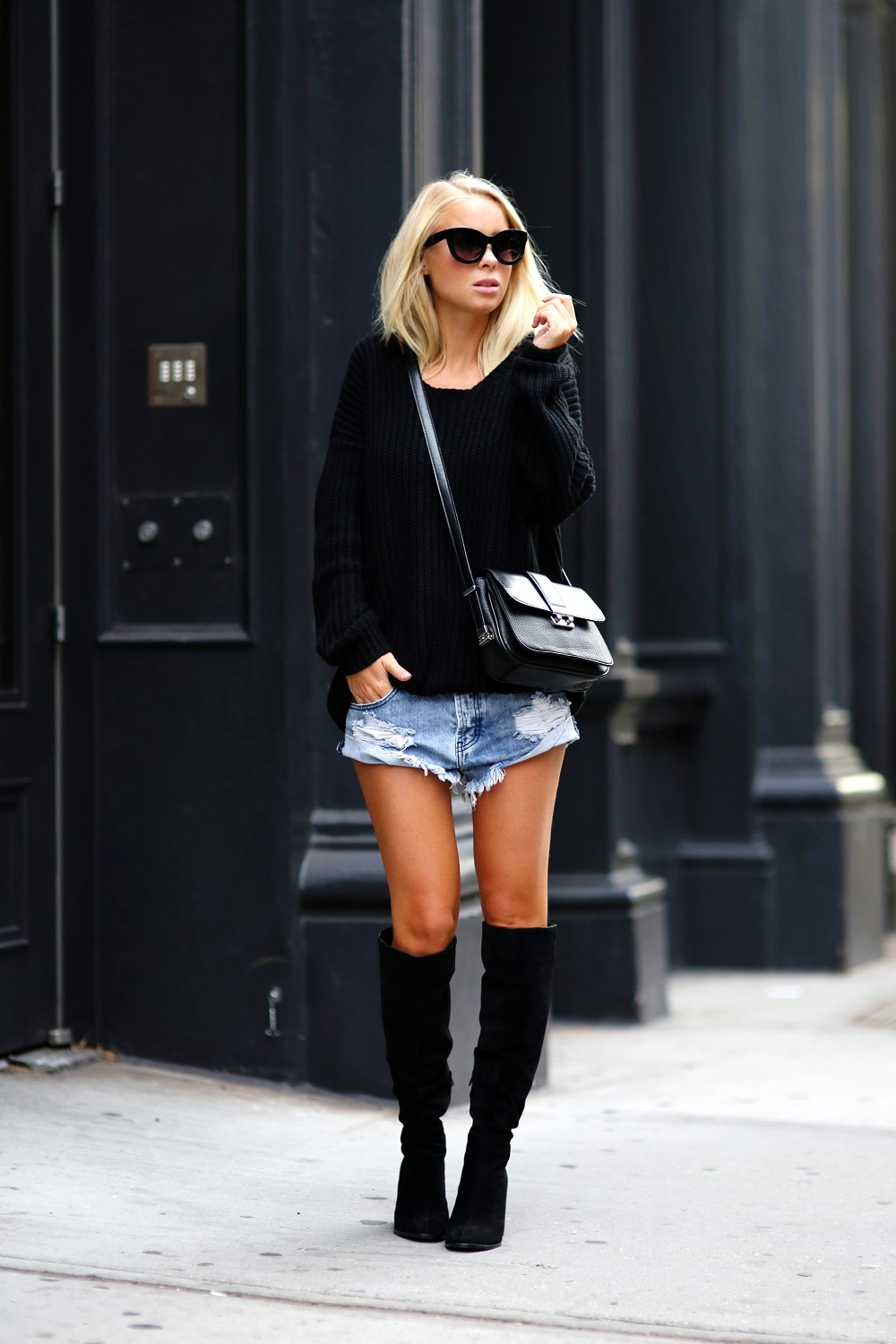 Victoria Tornegren is wearing boots from Zara, black knit sweater from H&M, denim shorts from One Teaspoon, sunglasses from Asos and the bag is from Mango