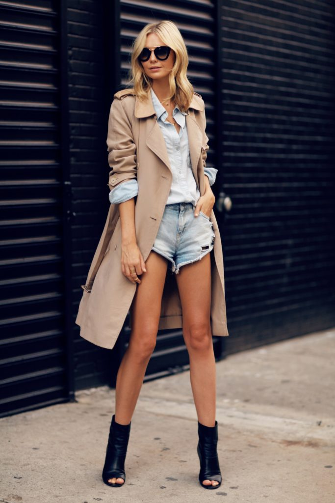 Jessica Stein is wearing denim shorts from Mango combined with a trench coat from Sportscraft, denim shirt from Madewell, boots from Chanel and the sunglasses are from Prada