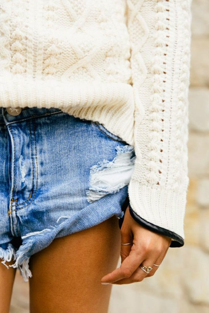 Heavy knit sweater and denim shorts Unknown Fashion Blogger
