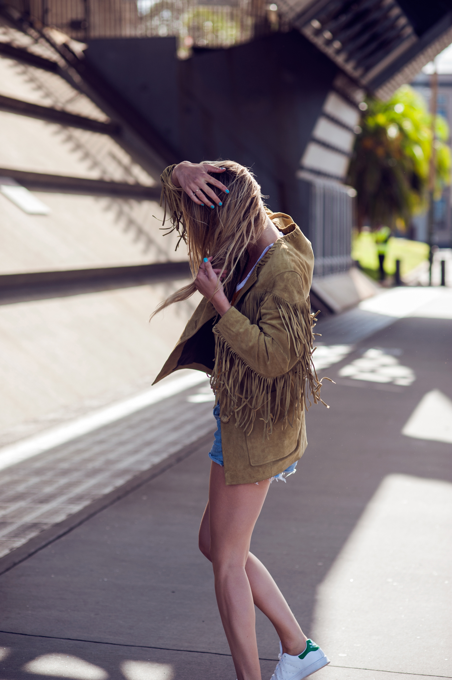 Fringe Trend: Rebecca Laurey is wearing a fringe suede jacket from Isabel Marant