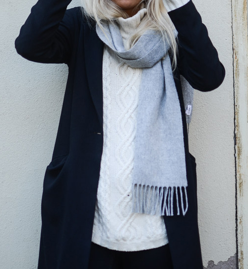 Kajsa Svensson is wearing a grey scarf from Filippa K, white knit sweater from Lexington and the black long coat is from Coat
