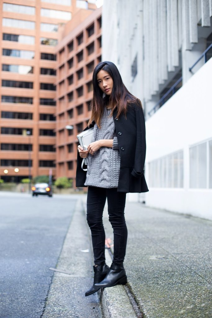 Claire Liu shows off the heavy knitwear trend. The sweater is from Urban Outfitters