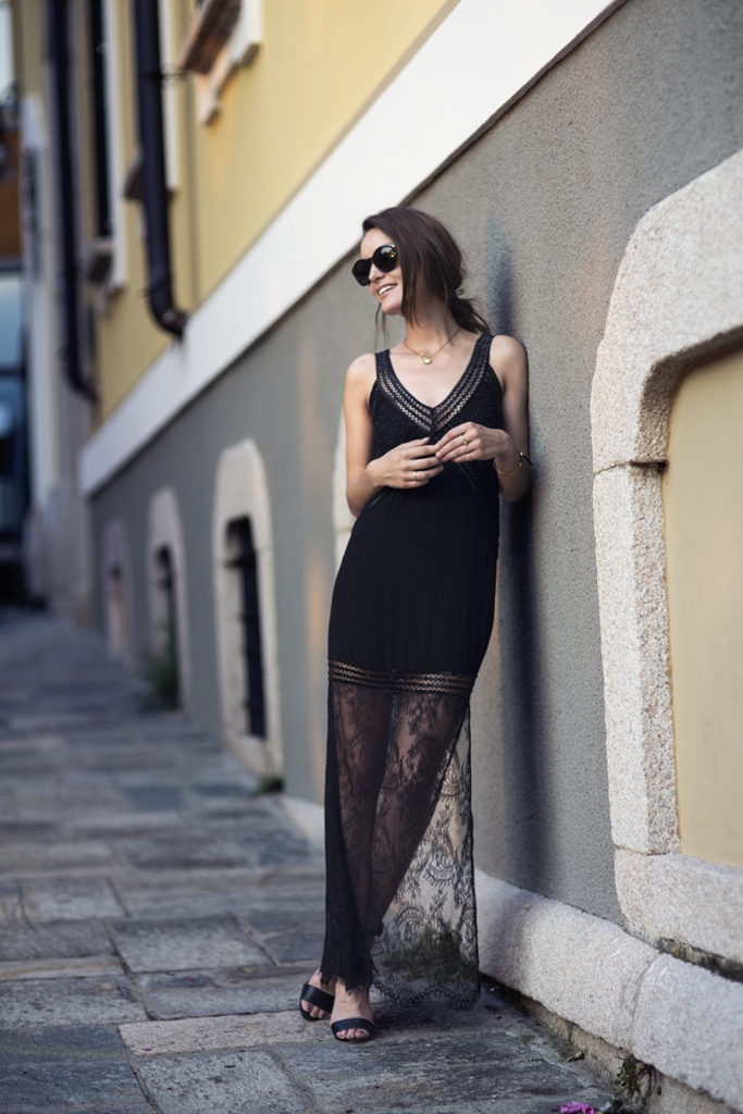 Anouska Proetta Branson is wearing a black lace muse dress from Magali Pascal and the shoes are from Office