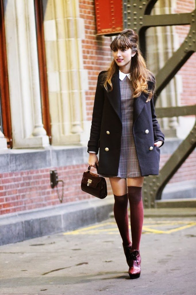 Virgit Canaz is wearing a tartan dress from InLoveWithFashion, sweater from Choies, coat from Zara, over the knee socks and bag from New Look and the boots are from Burberry prorsum