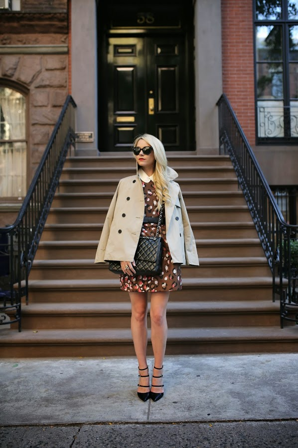 Mod Fashion Trend: Blair Eadie is wearing a leopard print brown dress from Red Valentino, beige jacket from Everlane, white collar from Milly, sunglasses from Prada, bag from Chanel  and the shoes are from Gianvito Rossi