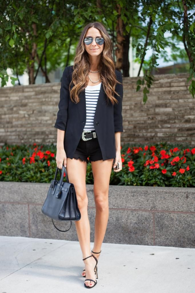 Arielle Nachami is wearing shorts from Wildfox, blazer from Zara, belt from H&M, shoes from Stuart Weitzman, tank top from Athleta, sunglasses from Ray-Ban and the bag is from Saint Laurent