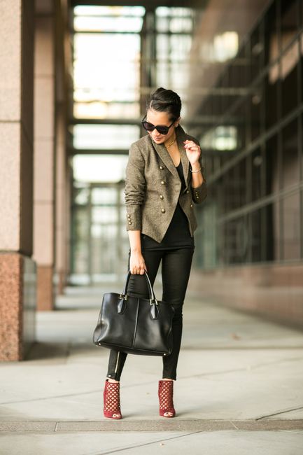 Wendy Nguyen is wearing a blazer from Banana Republic, top from Vince, trousers from J Brand, bag from Tod's, shoes from Jimmy Choo and sunglasses from Karen Walker