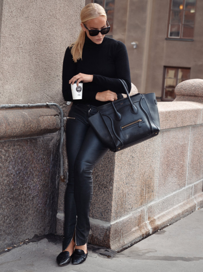 Petra Tungården is wearing leather trousers and sunglasses from Anine Bing, shoes from Mango, turtleneck from H&M and the bag is from Céline