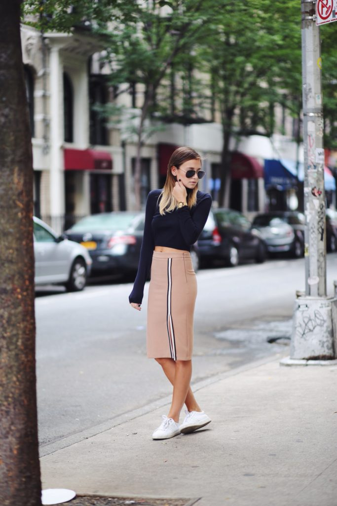 Danielle Bernstein is wearing a nude skirt from Zara and the top is from Whistles