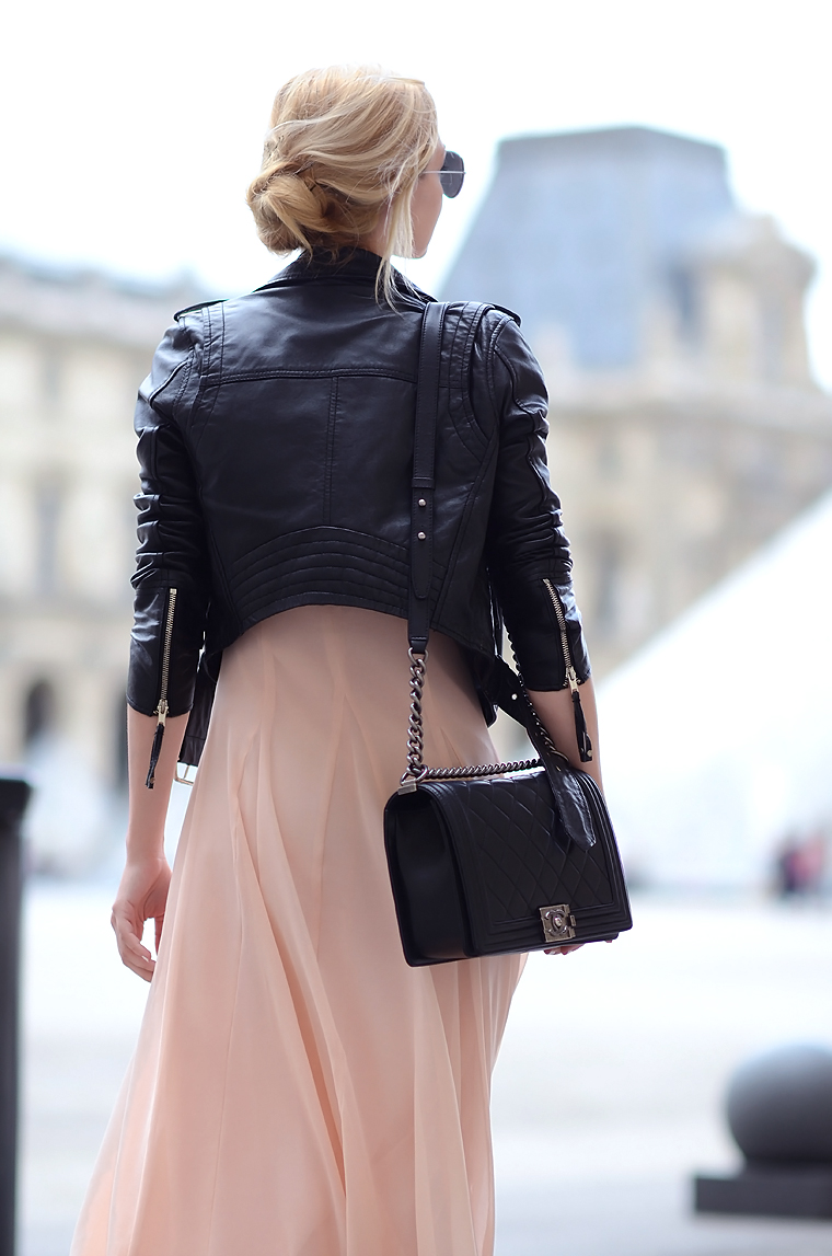 Henar Vicente is wearing a leather jacket from River Island, dress from Asos and the bag from Chanel