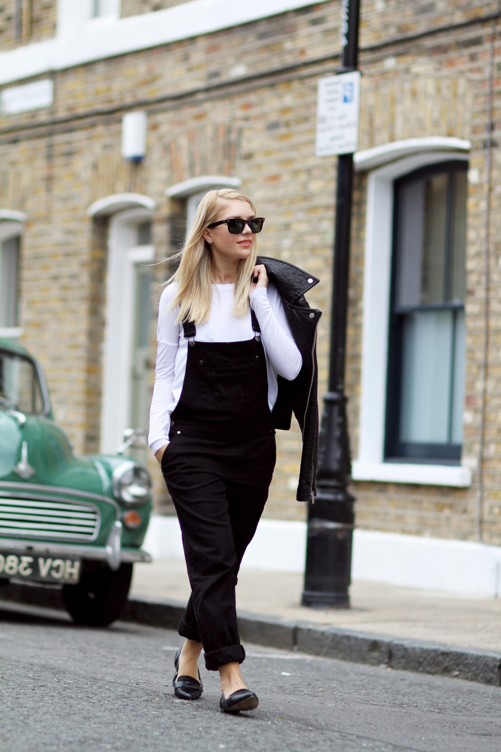 Isabella Thordsen is wearing shoes, dungaree's and a leather jacket from Asos