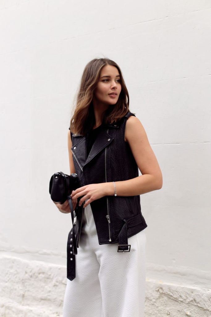 Sara Donaldson is wearing a leather vest from Veda