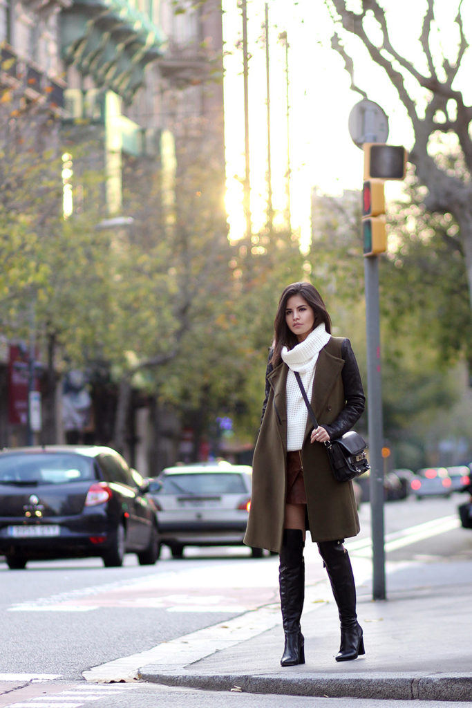 Adriana Gastélum is wearing an olive sleeveless coat from BCBGMAXAZRIA