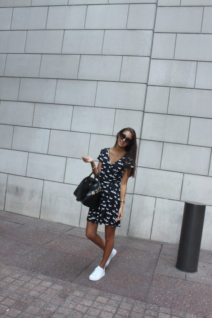 Felicia Akerstrom is wearing a dress from Rosewe, shoes from Adidas and the bag is from Givenchy