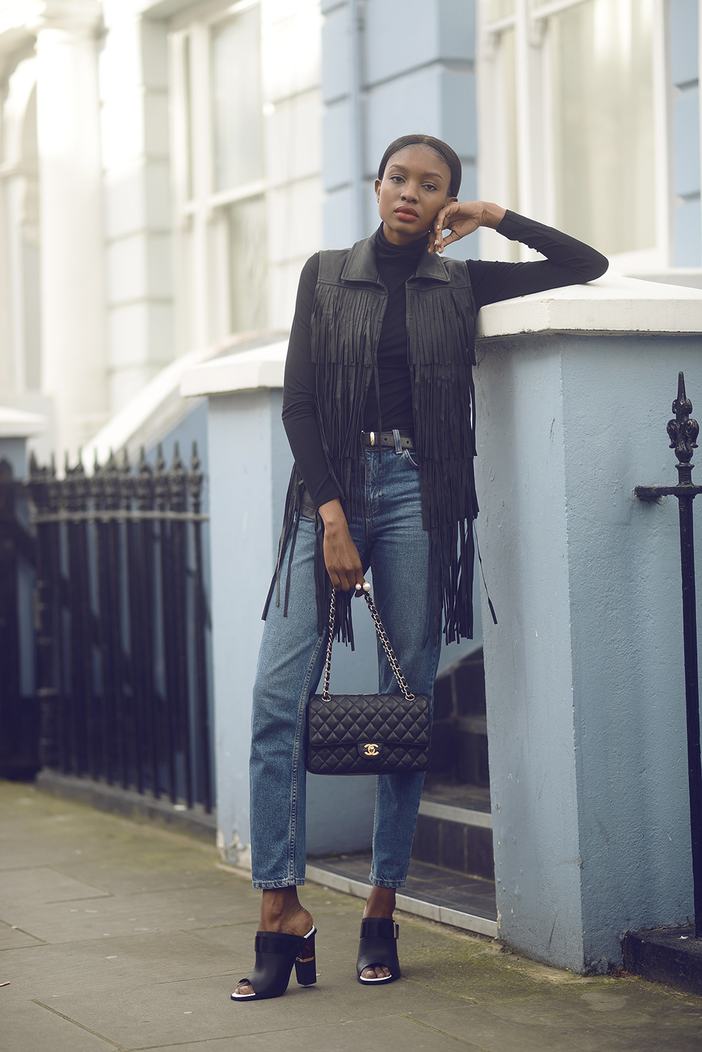 Fringe Fashion Trend: Natasha Ndlovu is wearing a SuperTrash black fringed vest