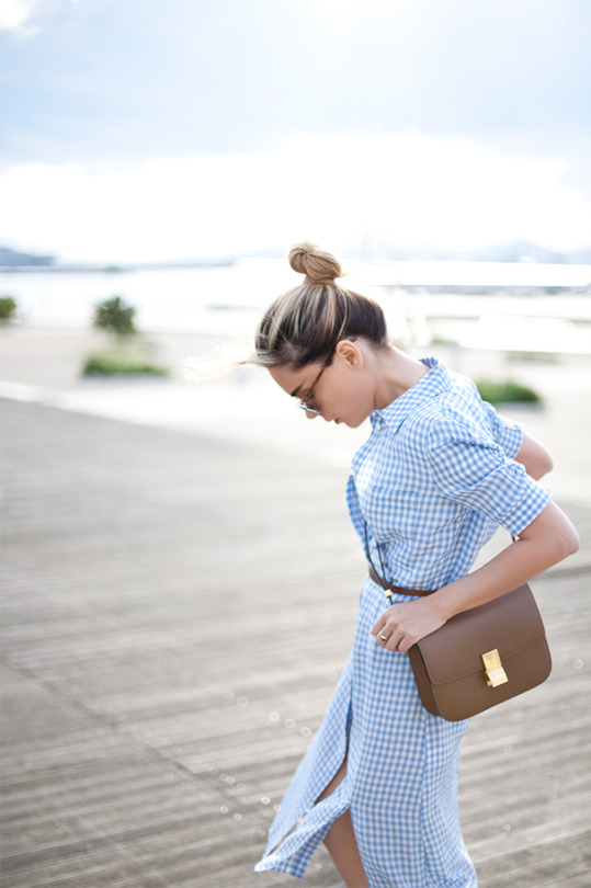 Gingham Fashion Trend 2015: Evangelie Smyrniotaki is wearing a Altuzarra baby blue dress