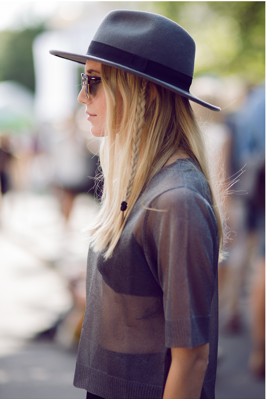 Hats For Autumn: Josefin Dahlberg is wearing a grey felt hat