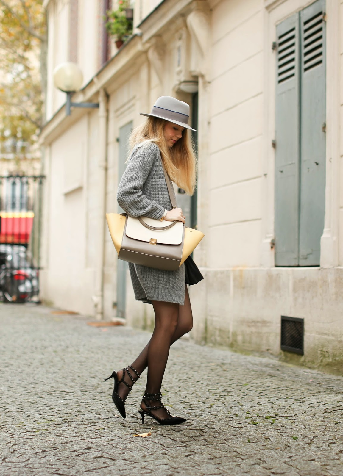Caroline Louis in her trimmed rabbit felt fedora from Maison Michel