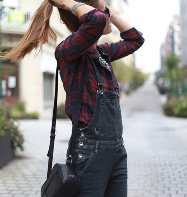 Silvia Garcia in overalls for Autumn, overalls from GAS and a plaid shirt from Only