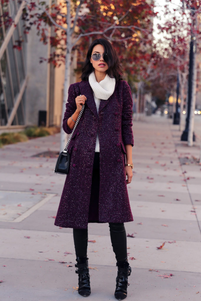 Burgundy Fashion Trend 2014: Annabelle Fleur is wearing a sequin burgundy mohair and wool coat from DVF