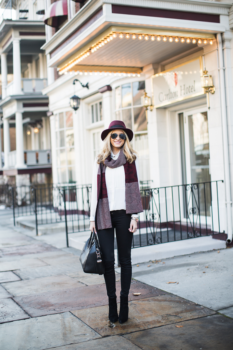 Burgundy Fashion Trend: Emily Jackson is wearing a burgundy scarf from J. Crew and the matching hat is from Trina Turk