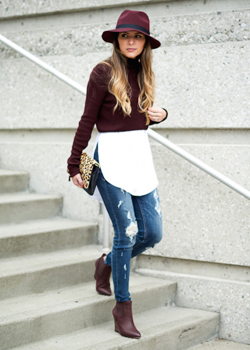 Burgundy Fashion Trend: Pam Hetlinger is wearing a burgundy crop sweater from TopShop, matching boots and hat from Sole Society and Prima Donna respectively