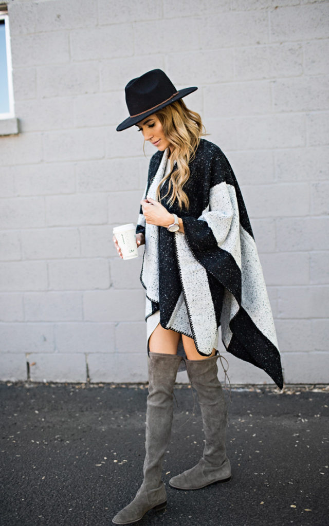This striped cape looks epic with grey suede boots and a black fedora. Dare to accessorize with hats this fall! Via Christine Andrew.  Cape/ Boots: Ily Couture.
