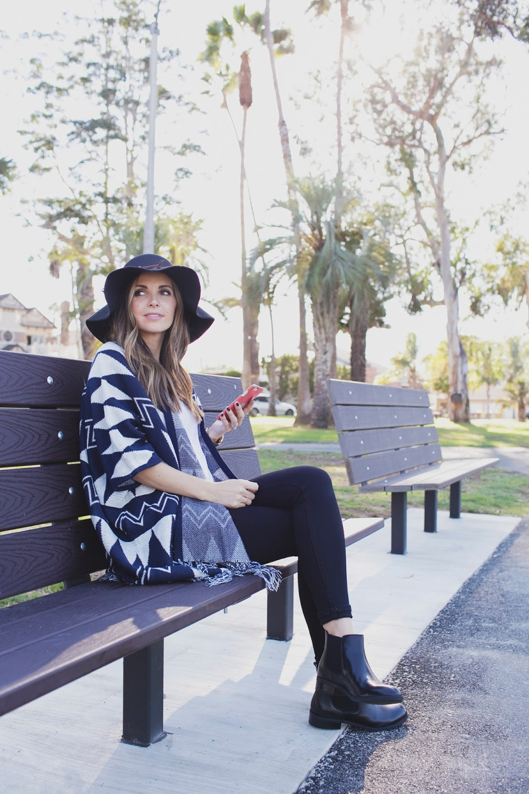 An Aztec print cape is always a winner. Via merricksart.com. Cape: ASOS, Jeans: Nordstrom, Boots: Clarks.