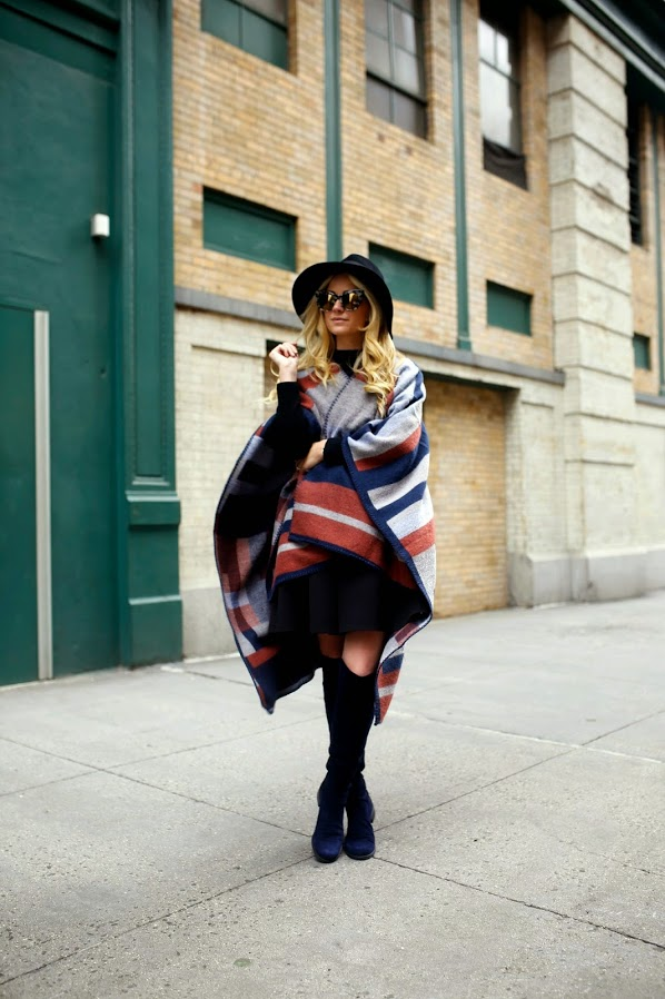 Cape Fashion Trend: Blair Eadie is wearing a colorblock geometric cape from TopShop
