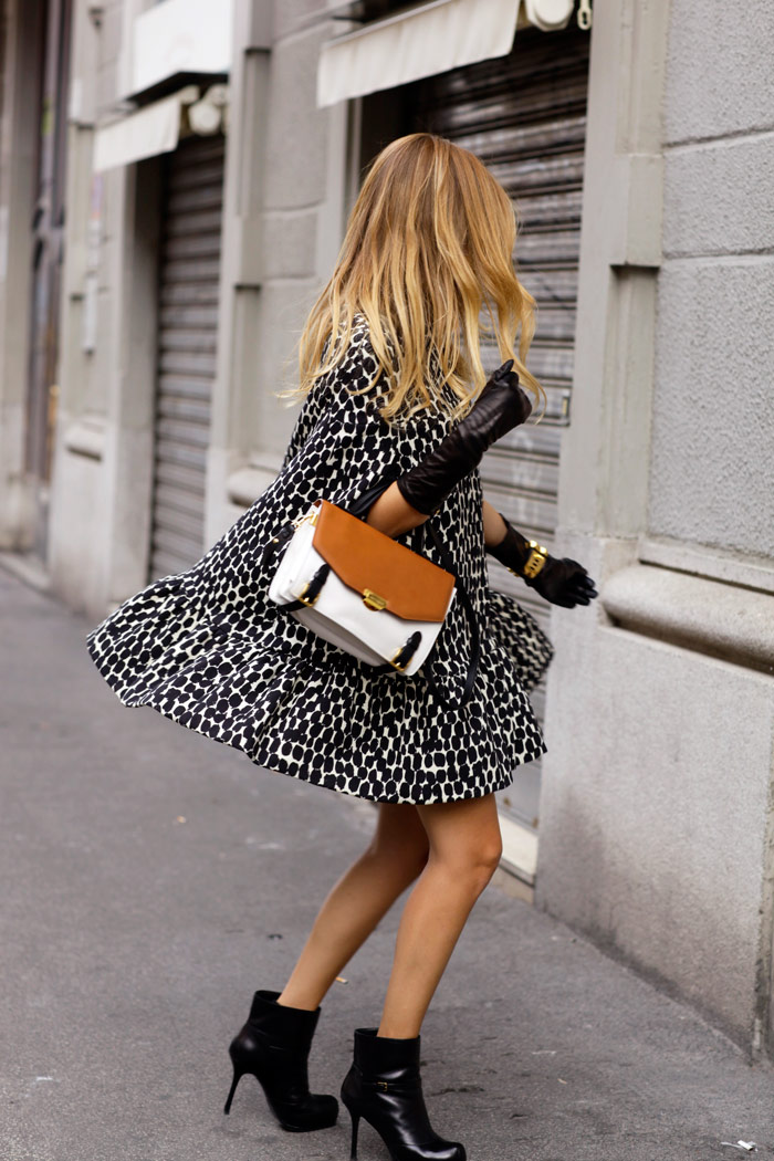 Black And White Cape Coat: Chiara Ferragni is wearing a dalmation cape from MSGM