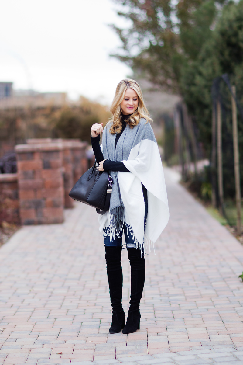 Color Block Trend, 2014: Emily Jackson is wearing a grey and white color block cape from ASOS
