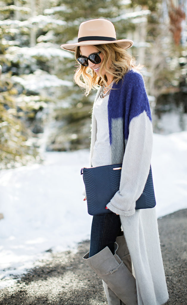 Colour Block Outfit Idea: Christine Andrew is wearing a color block long cardigan
