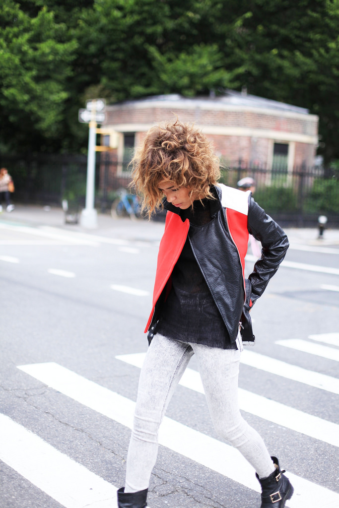 Christina Caradona in her colour block moto jacket from Express