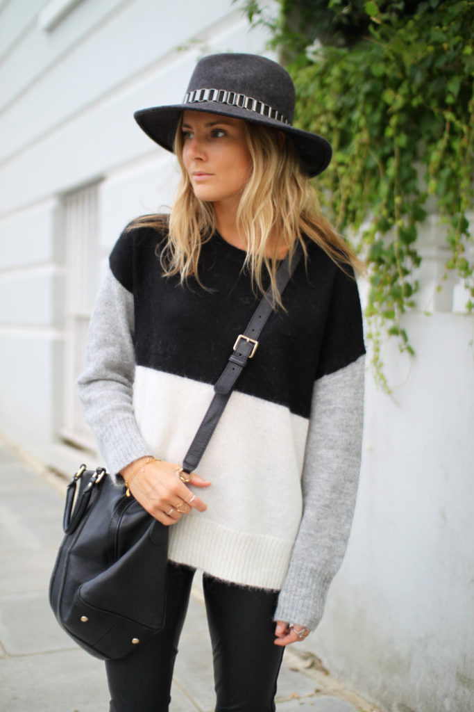 Lucy Williams is wearing a monochrome colour block jumper from Hush