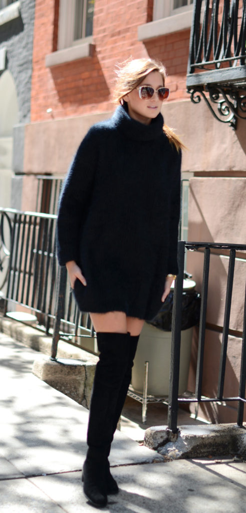 Danielle Bernstein is wearing a fluffy sweater from H&M and the boots are from Stuart Weitzman