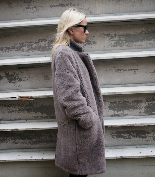 Celine Aagaard in a fluffy brown coat for winter