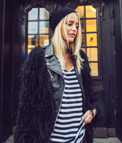 Janni Deler is wearing a black fuzzy jacket (Bought somewhere in Spain.)