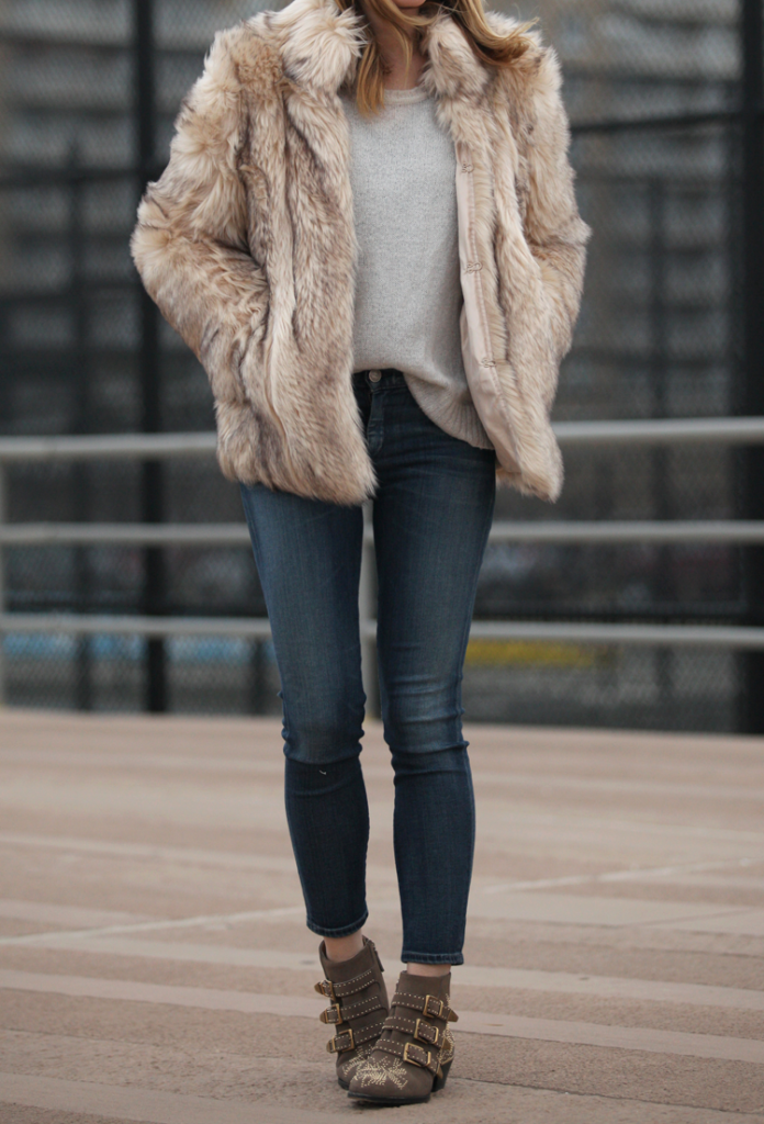 Faux Fur Jacket How To Wear: Helena Glazer is wearing a faux fur jacket from TopShop